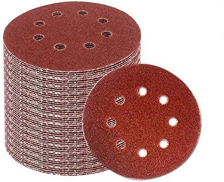 SENRISE 8-Holes Hook and Loop Sandpaper 125MM Sanding Pad Assorted for Random Orbit Sander Sanding Discs 50Pcs - 180 Grit