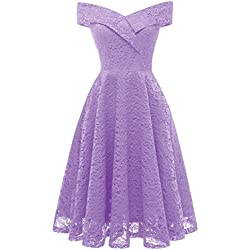 MILANO BRIDE Vintage Princess Floral Lace Cocktail Off-The-Shoulder Party Dress Aline Swing Dress-L-Violet