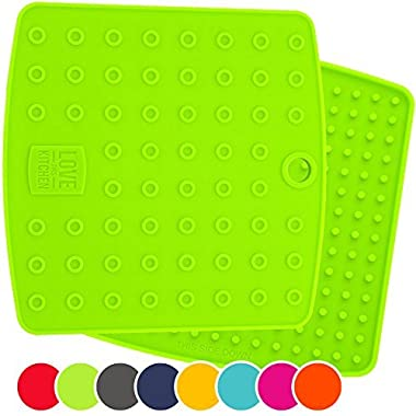 Premium Silicone Trivet Mats / Hot Pads, Pot Holders, Spoon Rest, Jar Opener & Coasters - Our 5 in 1 Kitchen Tool is Heat Resistant to 442 °F, Thick & Flexible (7  x 7 , Lime Green, Set of 2)
