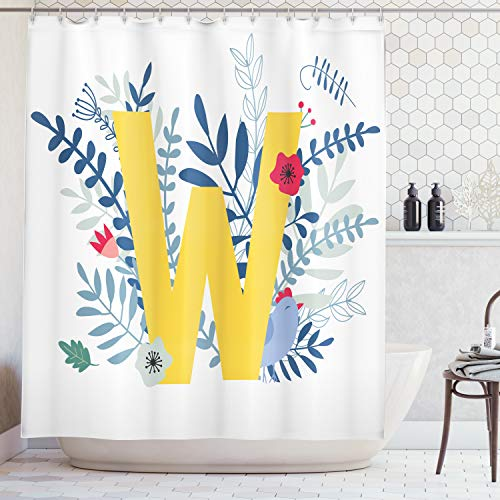 (Lunarable Monogram Shower Curtain, Chicken with Flowers and Foliage Pattern Cartoon Nature with ABC Elements W Symbol, Cloth Fabric Bathroom Decor Set with Hooks, 70 inches, Mustard)