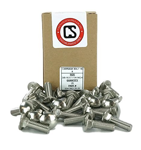 18-8 Stainless Steel,25 Pieces 25pcs Stainless 3//8-16 x 2-1//2 Carriage Bolt 3//8-16x2-1//2 1 to 5 Lengths Available in Listing