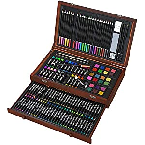 143 Piece Deluxe Art Set, Art Supplies in Portable Wooden Case-Painting & Drawing Kit with Crayons, Oil Pastels, Colored Pencils, Watercolor Cakes, Sharpener, Sandpaper- Deluxe Art Set (143 Piece)