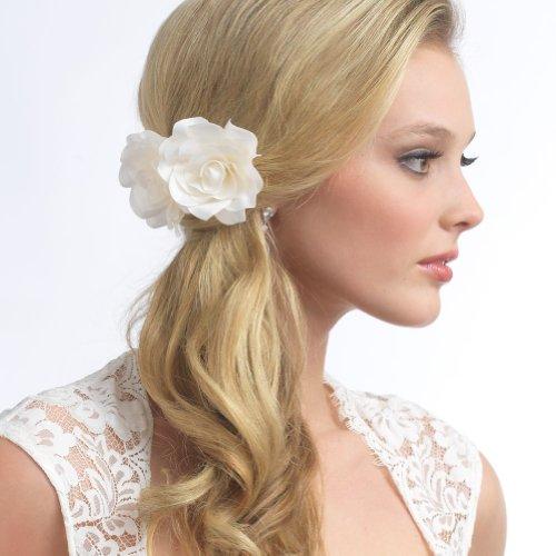 USABride Bridal Silk Hair Flower, Ivory Two Rose Wedding Hair Comb 2082 IV