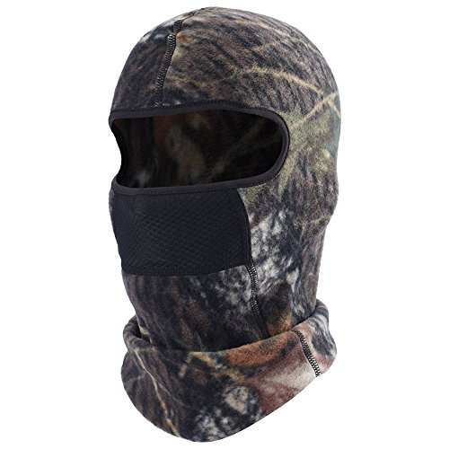 Camo Balaclava Fleece Hood with Windproof Neck Warmer Ski Face Mask with Air Net - Fleece Balaclava Velcro