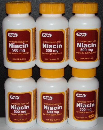 Rugby Niacin Extended Release 500mg Capsules - 6 Pack (6)