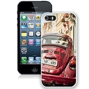 NEW Unique Custom Designed iPhone 5S Phone Case With Retro Volkswagen Beetle_White Phone Case