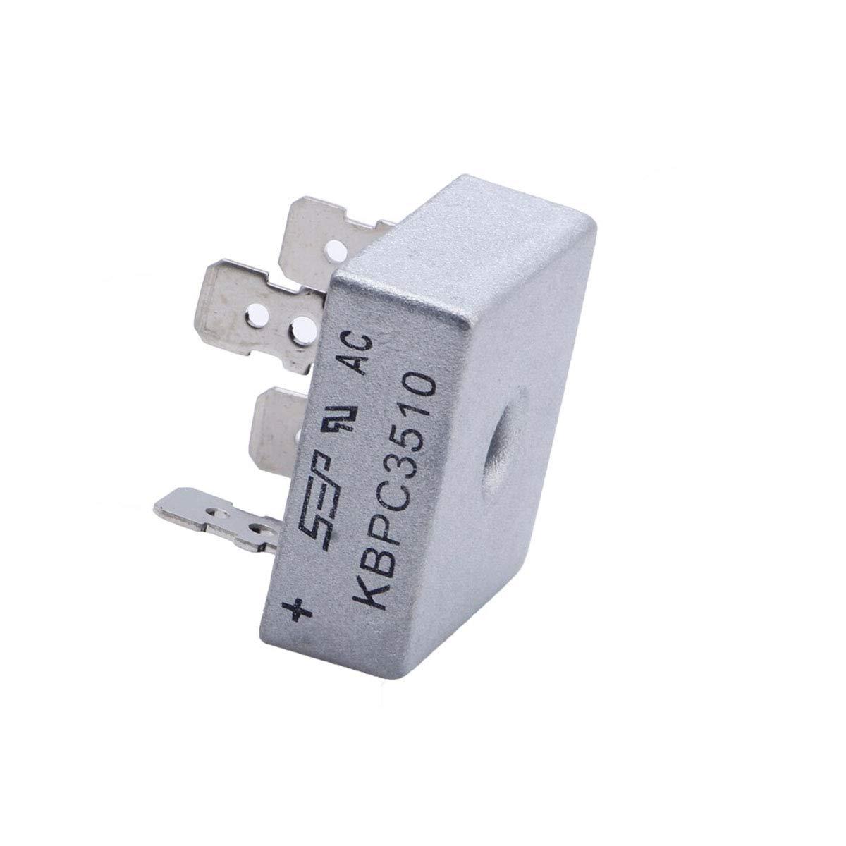KBPC3510 35A 1000V Bridge Rectifier Diode Single Phase Metal Case Diode Bridge Rectifier 4-Pin 5Pcs