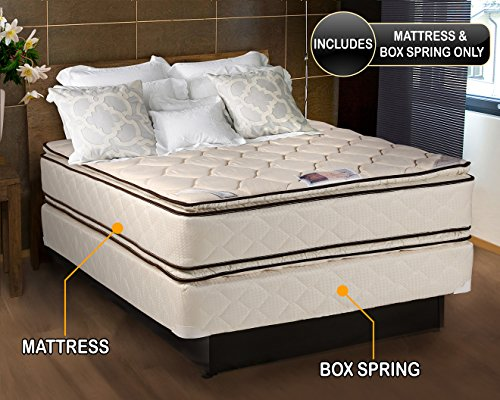 Coil Comfort Pillowtop Queen Size Mattress and Box Spring Se