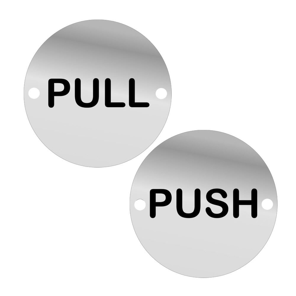 2pc Pull and Push Door Sign Set 75mm Screen Printed SAA (1 Set) DzinaTM