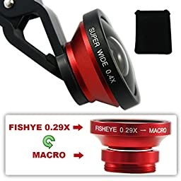 First2savvv JTSJ-CJ3-08 red Universal Detachable 0.4X Super Wide Angle + 0.29X fish eye + Macro lens professional Mobile phone Lens for Samsung Galaxy Beam GT I8530 Galaxy P7510 Tablet PC - 64GB Galaxy Note 10.1 GTN8000 galaxy note II 2 Omnia M GT-S7530 w