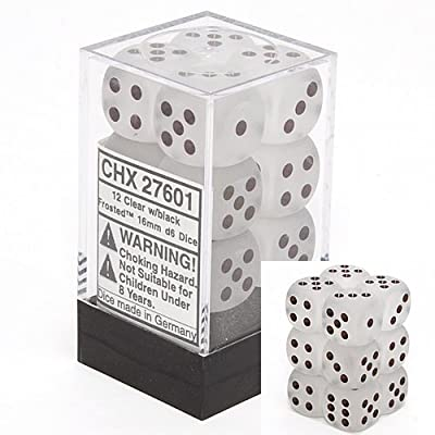 Chessex Dice D6 Sets: Frosted Clear with White - 16Mm Six Sided Die (12) Block of Dice: Toys & Games