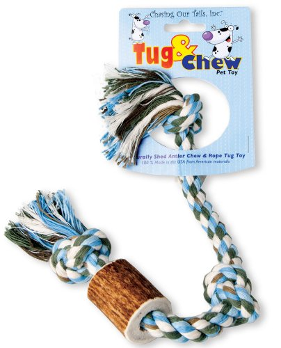 Chasing Our Tails Tug and Chew Dog Toy, 1/2-Inch , 1-Piece of Elk Antler for 50-Pound Dogs, My Pet Supplies