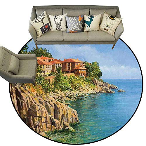 Easy Clean Rug,Seascape,Tranquil Summer in Sozopol Bulgaria Houses on Rocky Cliffs Sea,Pale Brown Green and Blue,Shoe Scraper Door Mat Living Room Rug 4.6