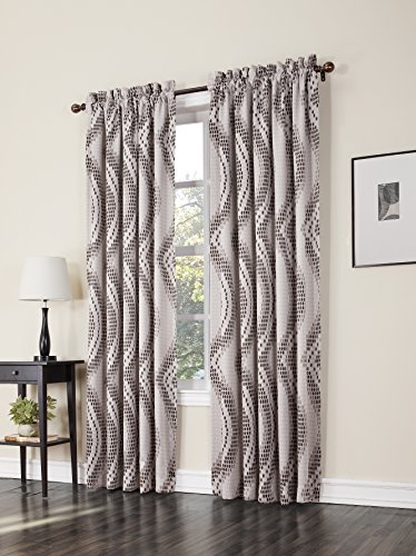 Sun Zero Jeff Wave Print Energy Efficient Curtain Panel, 54″ x 63″, Natural Tan