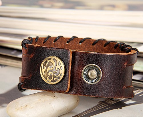 Flongo Bracelet Acier Inoxydable Cuir PU Leather Corde Menotte Rivet Surfer Enveloppez Enrouler Gothique Reglable Bijoux Cadeau Couleur Brun pour Homme