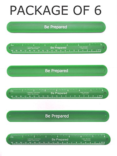 Girl Scout Be Prepared Slap Band Ruler: Pack of 6 - Great item for Junior, Brownie, Daisy, Cadet and Senior Scouts. Green color - great favors, swaps, gift or fun on add on items / accessories