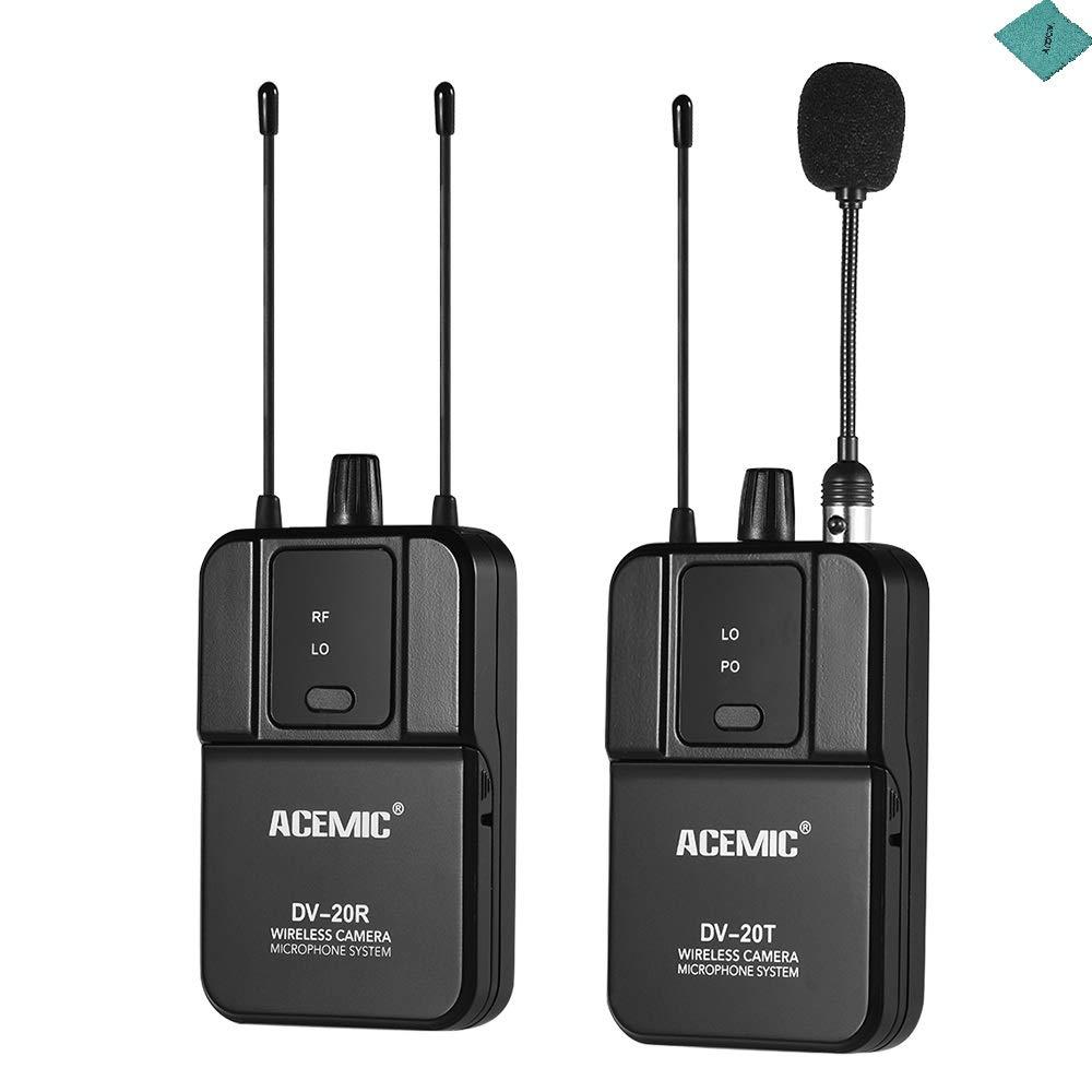 ACEMIC True Diversity ワイヤレス UHF マイクシステム 80M 有効範囲 送信機と受信機付き Canon Nikon Sony DSLRカメラカムコーダー インタビューサウンドレコーディング Andoer Cleang クロス付き   B07MJW2F16