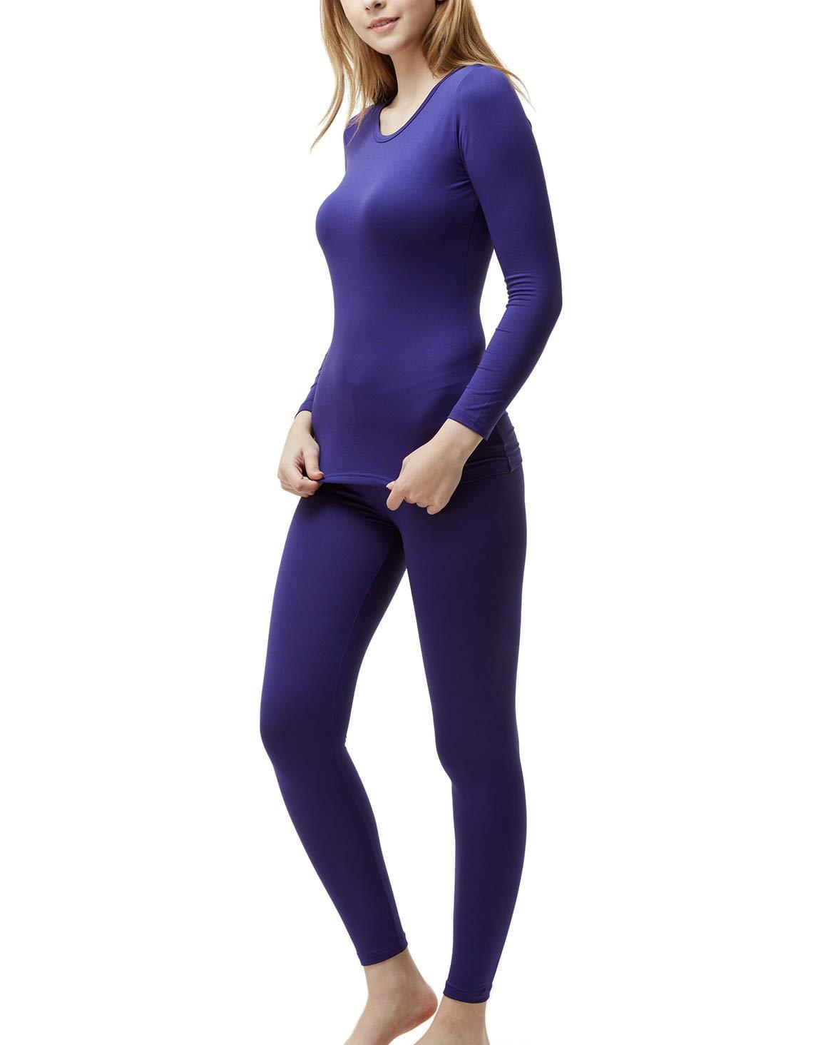 TSLA Blank Women's Top & Bottom Set w Microfiber, Thermal Set(whs200) - Purple, Small by TSLA