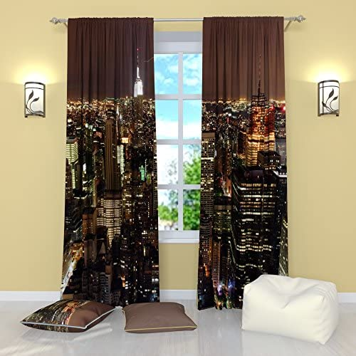 Factory4me New York City Curtains Night Fires. Window Curtain Set of 2 Panels Each W52 x L96 Total W104 x L96 inches Drapes for Living Room Bedroom Kitchen