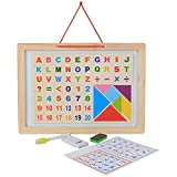 Vibgyor Vibes 2 In 1 Magnetic Alphabets, Numbers And Arithmatic Symbols With White Board, Chalk, Duster And Marker + Tangaram Puzzle