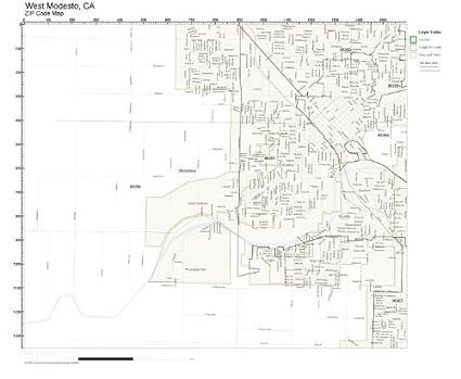 Amazon Com Zip Code Wall Map Of West Modesto Ca Zip Code Map Not