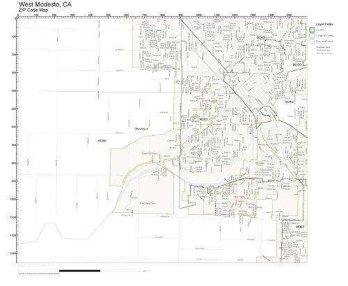 Amazon Com Zip Code Wall Map Of West Modesto Ca Zip Code Map