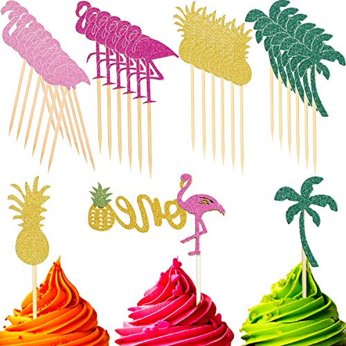 - 25 Pieces Cupcake Topper Flamingo Pineapple Coconut Tree Cake Picks cake topper for hawaiian tropical luau party supplies