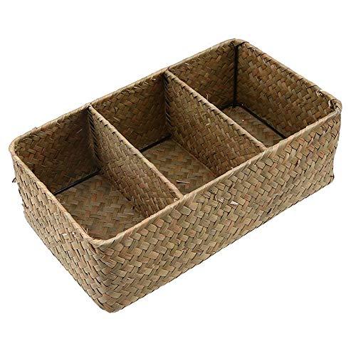 SeedWorld Storage Baskets - Wicker Basket Cosmetic Holder 3 Grid Seagrass Storage Box Sundries Baskets Woven Phone Organizer Handmade Makeup Container 1 -