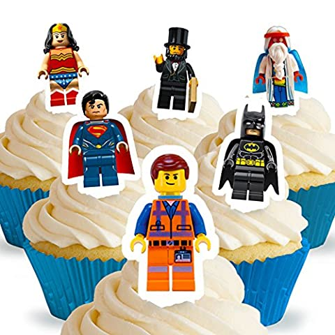 Cakeshop 12 x PRE-CUT Lego Movie Stand Up Edible Cake Toppers (Movie Cool Dry Place)