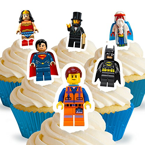 Cakeshop 12 x PRE-CUT Lego Movie Stand Up Edible Cake Toppers]()