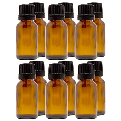 1/2oz (15ml) Amber Glass Bottle with Euro Dropper, Black Cap (12 - Euro Glasses