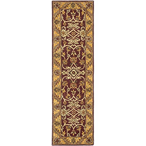 Safavieh Golden Jaipur Collection GJ250C Handmade Burgundy and Gold Premium Wool Runner (2'3 x 8′)