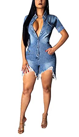 top-rated original usa cheap sale new arrivals Womens Denim Short Sleeve Loose Button Down Jumpsuit Romper Jeans Pockets  Ripped Distressed Holes Bodycon Short Pants Sexy Party Club Night Jumpers  ...