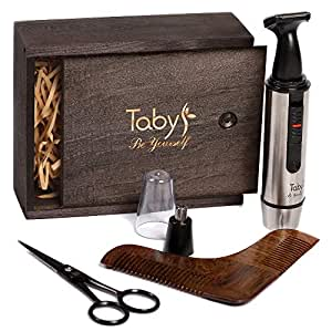 Mustache Grooming Kit Styling & Trimming Set for Men - Wooden Comb Facial Nose & Ear Trimmer Beard & Mustache Scissors