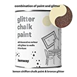 Hemway Lemon Chiffon Chalk Paint (with Bronze Glitter) Sparkle Matt finish Wall and Furniture Paint 1L/35oz Shabby Chic Vintage Chalky Crystal (25 Glittery Colours Available)