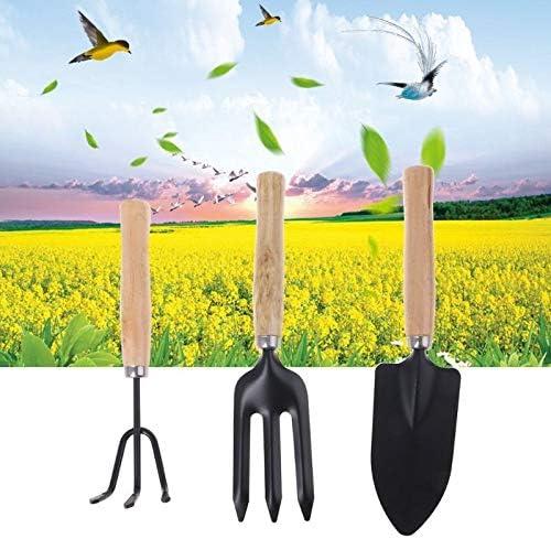 TMYQM 3枚スペードフォークシャベルすくいハローセットホーム園芸工具鉢植え風景プラントメンテナンススーツウッドハンドルギフト