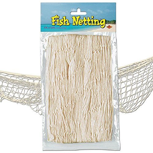 Tissue Fish Netting - Pack of 12 Under the Sea Tropical Natural White Fish Netting Hanging Party Decor 12'