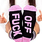 Fenta Socks Letter Print Fuck-off Pattern Casual Funny Sock Men Women Unisex by (Pink, One size)