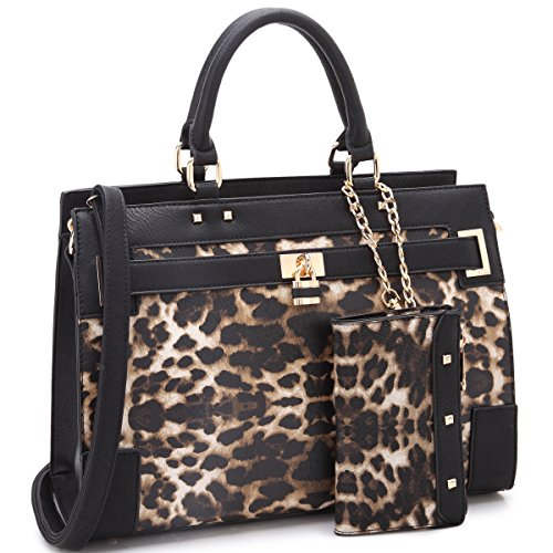 Dasein Two Tone Fashion Handbag For Women Top Handel Satchel Bag Padlock Designer Purse With Matching Wristlet