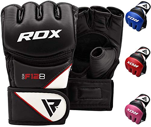 (RDX Maya Hide Leather Grappling MMA Gloves UFC Cage Fighting Sparring Glove Training F12, X-Large, Black)