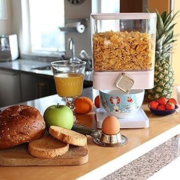 Dispensador de cereales individual, doble o triple, hermético, con bandeja antiderrames integrada para