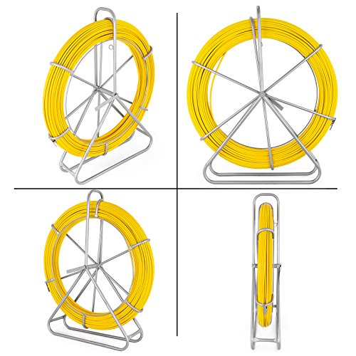 VEVOR Fish Tape Fiberglass 8MM 492FT Duct Rodder Fish Tape Continuous Fiberglass Tape Wire Cable Running with Cage and Wheel Stand by VEVOR (Image #2)