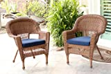 Jeco W00205-C_2-FS011-CS Wicker Chair with Blue Cushion, Set of 2, Honey/W00205-C_2-FS011-CS For Sale