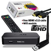 MAG 256 Original IPTV SET TOP BOX Multimedia Player Internet TV IP Receiver (HEVC H.265) + WLAN WIFI Adapter faster than MAG254