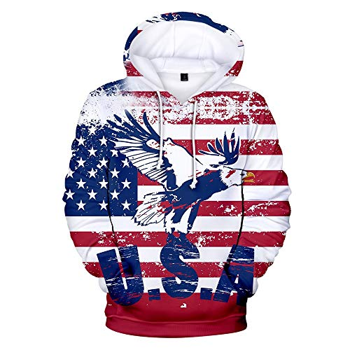 Homlifer Men's 3D US Flag Bald Eagle Printed Long Sleeve Couples Hoodies Sweatershirt Top Blouse 2019 USA Independence Day Clothes