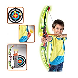 Toyshine Plastic Archer Toy with Lights, Quiver and 3 Suction Arrows and Target (Big Size, Red, Grey)