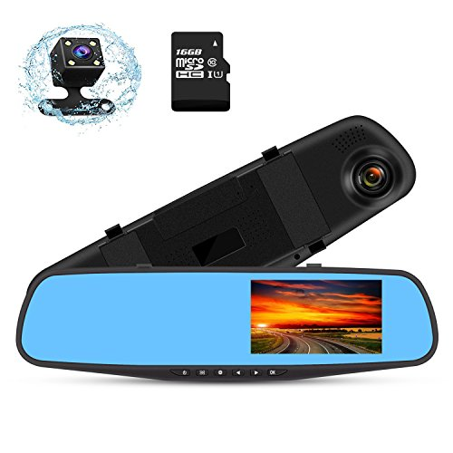 """HD Mirror Cam .Bluepupile 4.3 """" LCD Dual Dash Cam 1080P front and 720P Rear Camera 150° Wide Angle Lens Dashboard Camera Recorder, WDR and 16GB Card Included"""
