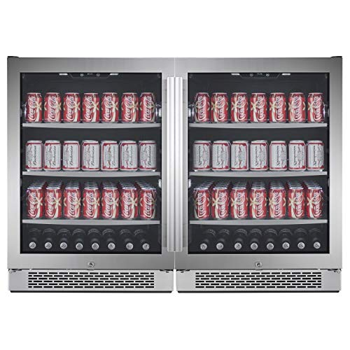 """Avallon ABR241SGDUAL 140 Can + 140 Can Built-In Side-by-Side Beverage Cooler"""