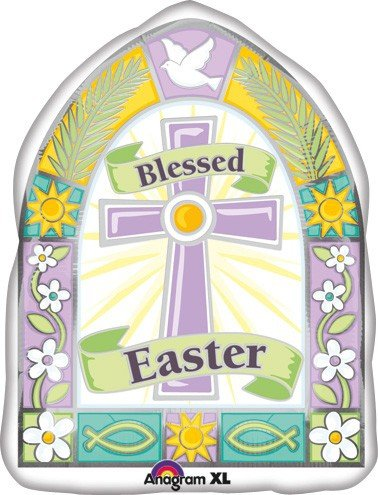 LuftBalloons 18 Inch Blessed Easter Window Jr Shape Balloon