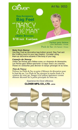 Nancy Zieman Bag - Clover Nancy Zieman Bag Hardware Options Bag Feet 9/16-Inch, 14mm Satin Bronze, 4-Per Package